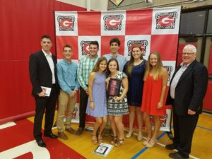 2017 Letterman Foundation awards. Pictured below are the winners (from left to right): front row- Amanda Rice and **Hayley Kmack. back row- Eric Motler, Andrew Hines, *George Marinopolous, and Nicole Fyvie.